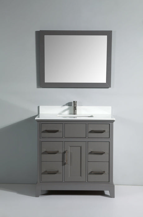 "Vanity Art 36"" Single Sink Vanity in Super White Phoenix Stone & Mirror - Grey, VA1036G"