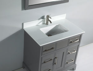 "Vanity Art 36"" Single Sink Vanity in Super White Phoenix Stone & Mirror - Grey, VA1036G test"