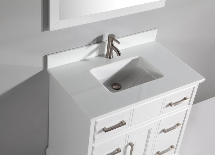 "Vanity Art 36"" Single Sink Vanity in Super White Phoenix Stone & Mirror - White, VA1036W"