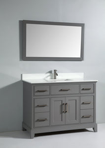 Genoa 48 in. W x 22 in. D x 36 in. H Vanity in Grey with Single Basin Vanity Top in White Phoenix Stone and Mirror test