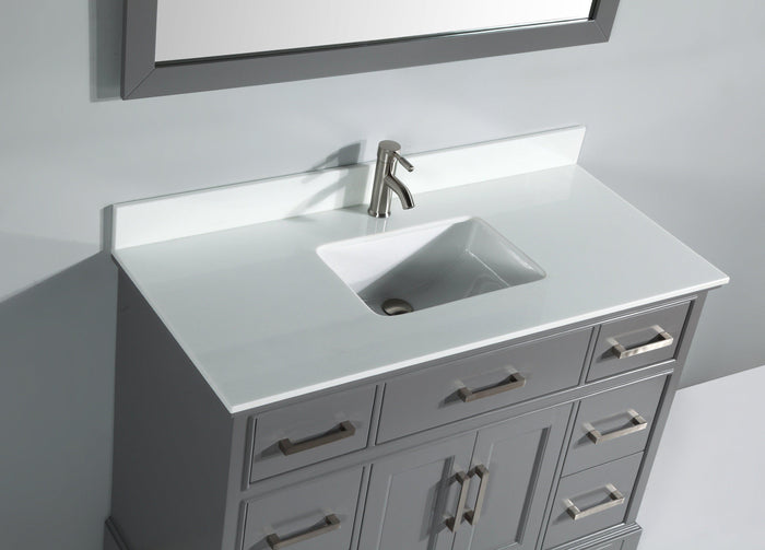 Genoa 48 in. W x 22 in. D x 36 in. H Vanity in Grey with Single Basin Vanity Top in White Phoenix Stone and Mirror