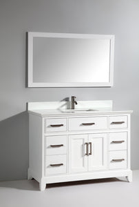 Genoa 48 in. W x 22 in. D x 36 in. H Vanity in White with Single Basin Vanity Top in White Phoenix Stone and Mirror test
