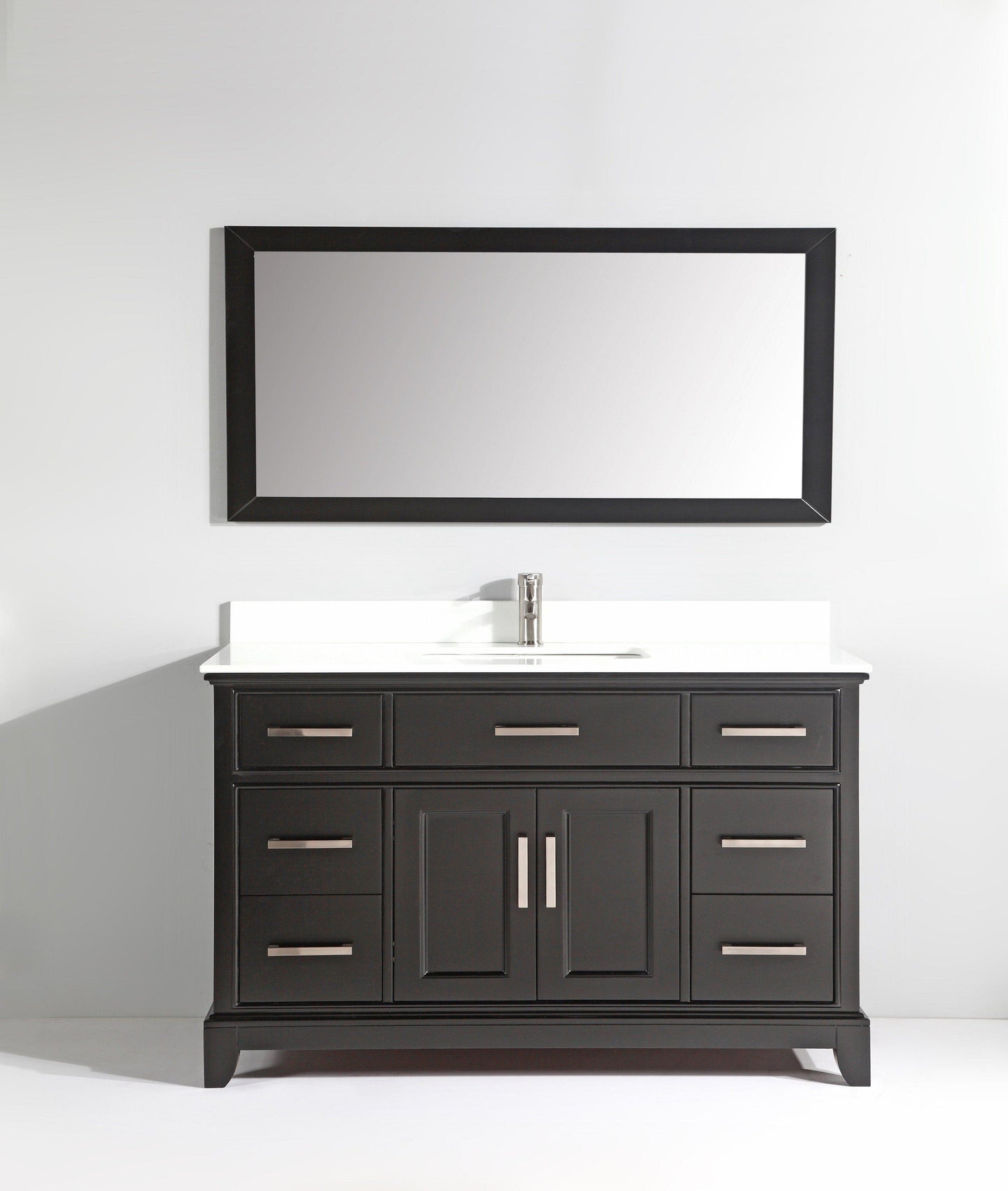 Vanity Art Vanity Set With White Stone Top, Espresso, Standard Mirror, 60