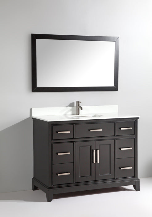 Vanity Art Vanity Set With White Stone Top, Espresso, Standard Mirror, 60""