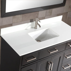 "Vanity Art Vanity Set With White Stone Top, Espresso, Standard Mirror, 60"" test"