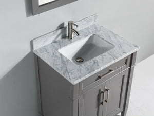 "Vanity Art 24"" Single Sink Vanity in Carrara Marble & Mirror - Grey, VA2024-G test"