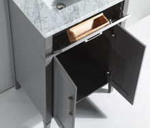 "Vanity Art 24"" Single Sink Vanity in Carrara Marble & Mirror - Grey, VA2024-G"