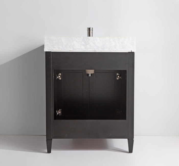 "Vanity Art 30"" Single Sink Vanity in Carrara Marble & Mirror - Espresso, VA2030-E"