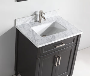 "Vanity Art 30"" Single Sink Vanity in Carrara Marble & Mirror - Espresso, VA2030-E test"