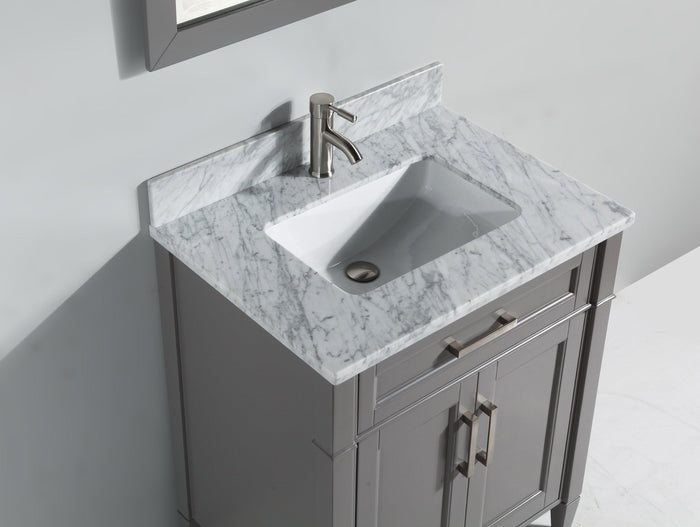 "Vanity Art 30"" Single Sink Vanity in Carrara Marble & Mirror - Grey, VA2030-G"