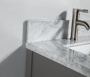 "Vanity Art 30"" Single Sink Vanity in Carrara Marble & Mirror - Grey, VA2030-G test"