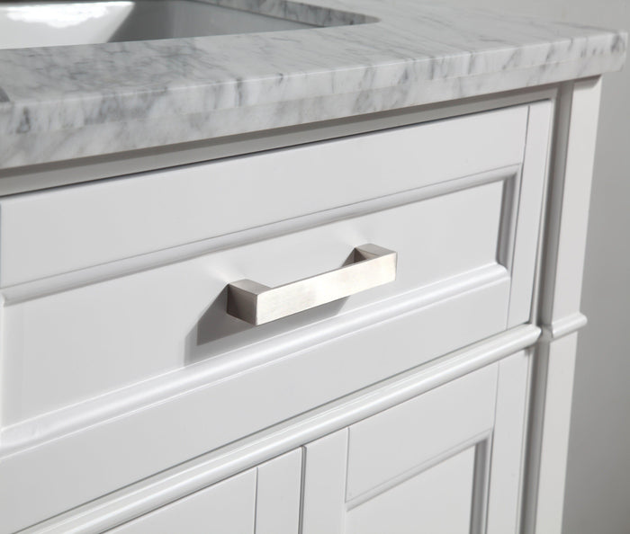 "Vanity Art 30"" Single Sink Vanity in Carrara Marble & Mirror - White, VA2030-W"