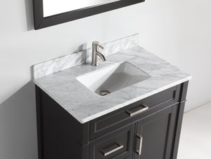"Vanity Art 36"" Single Sink Vanity in Carrara Marble & Mirror - Espresso, VA2036-E test"