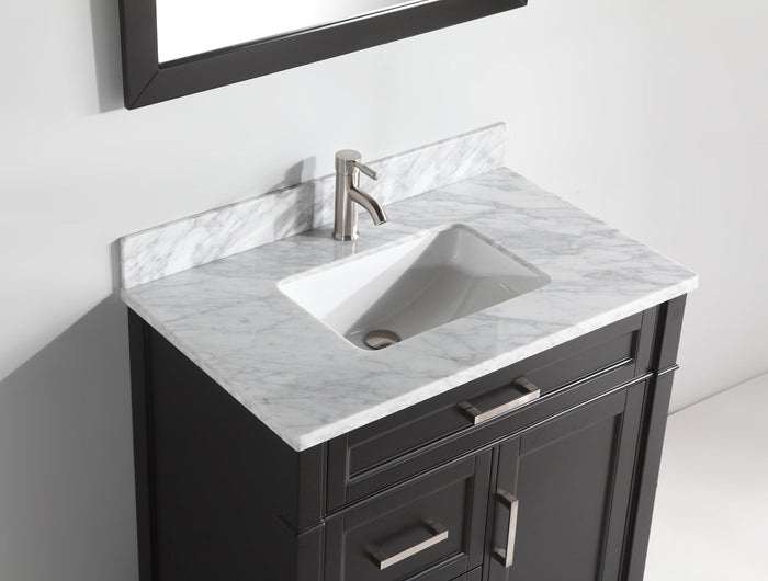 "Vanity Art 36"" Single Sink Vanity in Carrara Marble & Mirror - Espresso, VA2036-E"