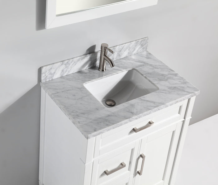 "Vanity Art 36"" Single Sink Vanity in Carrara Marble & Mirror - White, VA2036-W"