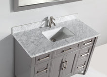 "Vanity Art 48"" Single Sink Vanity in Carrara Marble & Mirror - Grey, VA2048-G"