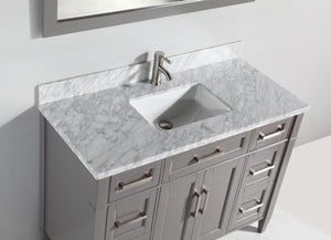 "Vanity Art 48"" Single Sink Vanity in Carrara Marble & Mirror - Grey, VA2048-G test"