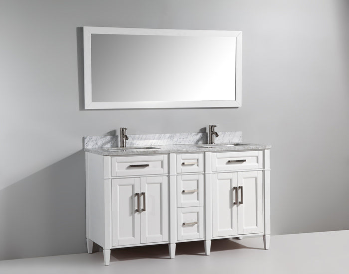 "Vanity Art 60"" Double Sink Vanity in Carrara Marble & Mirror - White, VA2060DW"