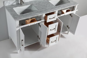 "Vanity Art 60"" Double Sink Vanity in Carrara Marble & Mirror - White, VA2060DW test"