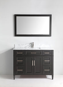 "Vanity Art 60"" Single Sink Vanity in Carrara Marble & Mirror - Espresso, VA2060E test"