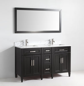 "Vanity Art 60"" Double Sink Vanity in Carrara Marble & Mirror - Espresso, VA2060DE test"
