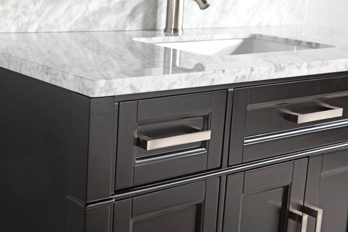 "Vanity Art 60"" Single Sink Vanity in Carrara Marble & Mirror - Espresso, VA2060E"