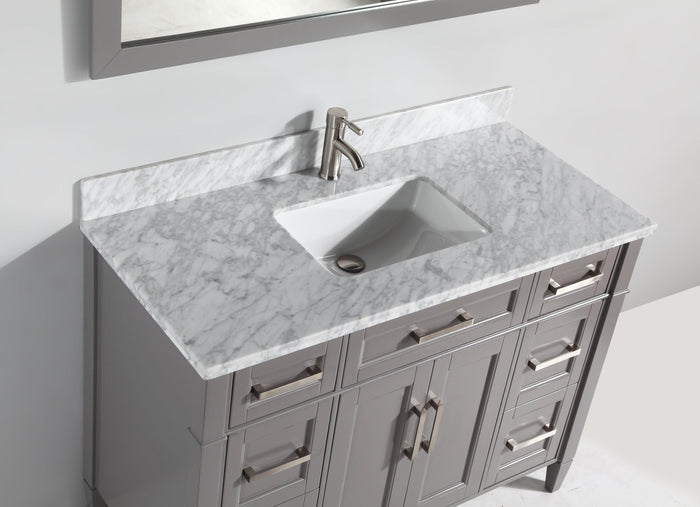 "Vanity Art 60"" Single Sink Vanity in Carrara Marble & Mirror - Grey, VA2060G"