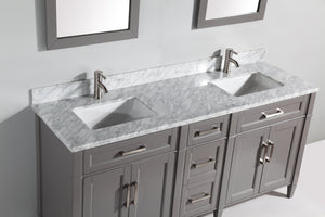 "Vanity Art 72"" Double Sink Vanity in Carrara Marble & Mirror - Grey, VA2072D-G test"