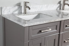"Vanity Art 72"" Double Sink Vanity in Carrara Marble & Mirror - Grey, VA2072D-G"