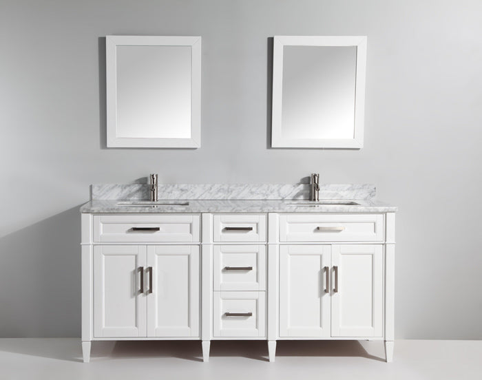 "Vanity Art 72"" Double Sink Vanity in Carrara Marble & Mirror - White, VA2072D-W"