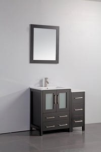 "Vanity Art 36"" Single Sink Vanity Cabinet with Ceramic Sink & Mirror - Espresso, VA3024-36E test"