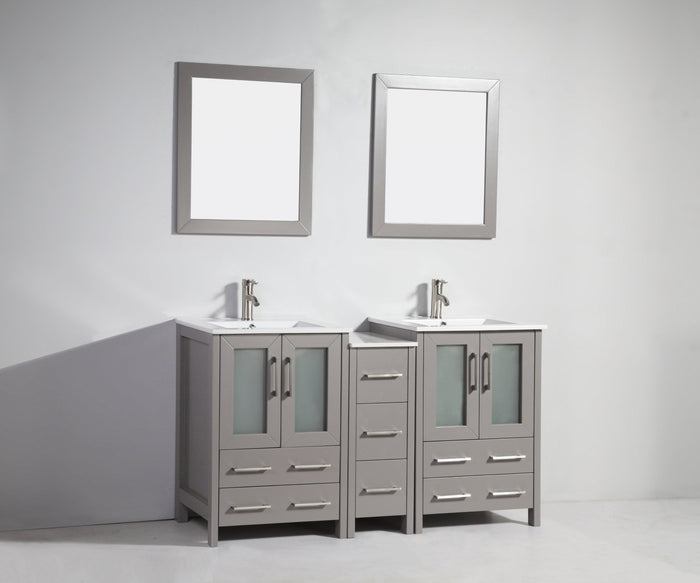 "Vanity Art 60"" Double Sink Vanity Cabinet with Ceramic Sink & Mirror - Grey, VA3024-60G"