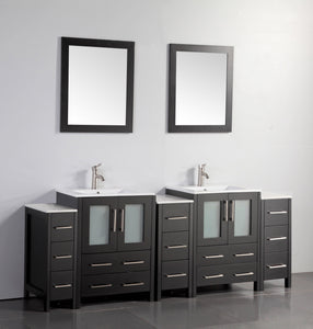 "Vanity Art 84"" Double Sink Vanity Cabinet with Ceramic Sink & Mirror - Espresso, VA3024-84E"