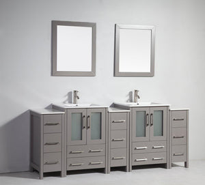 "Vanity Art 84"" Double Sink Vanity Cabinet with Ceramic Sink & Mirror - Grey, VA3024-84G"