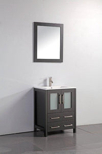 "Vanity Art 24"" Single Sink Vanity Cabinet with Ceramic Sink & Mirror - Espresso, VA3024E"