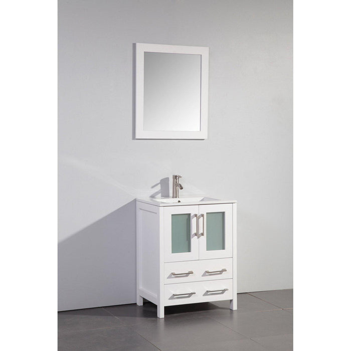 "Vanity Art 24"" Single Sink Vanity Cabinet with Ceramic Sink & Mirror - White, VA3024W"