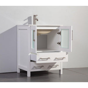 "Vanity Art 24"" Single Sink Vanity Cabinet with Ceramic Sink & Mirror - White, VA3024W test"