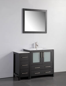 "Vanity Art 42"" Single Sink Vanity Cabinet with Ceramic Sink & Mirror - Espresso, VA3030-42E"