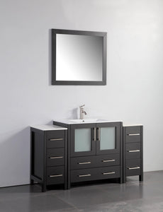 "Vanity Art 54"" Single Sink Vanity Cabinet with Ceramic Sink & Mirror - Espresso, VA3030-54E test"