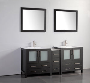 "Vanity Art 72"" Double Sink Vanity Cabinet with Ceramic Sink & Mirror (Single Cabinet) - Espresso, VA3030-72E test"