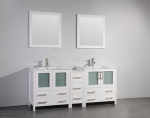 "Vanity Art 72"" Double Sink Vanity Cabinet with Ceramic Sink & Mirror (Single Cabinet) - White, VA3030-72W test"