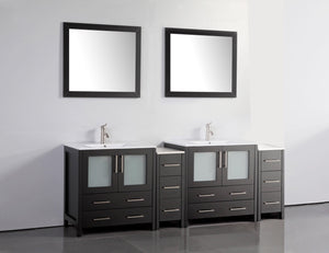 "Vanity Art 84"" Double Sink Vanity Cabinet with Ceramic Sink & Mirror (Double Cabinet) - Espresso, VA3030-84E"