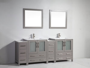 "Vanity Art 84"" Double Sink Vanity Cabinet with Ceramic Sink & Mirror (Double Cabinet) - Grey, VA3030-84G"