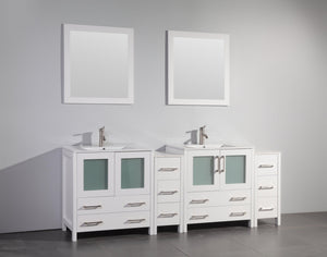 "Vanity Art 84"" Double Sink Vanity Cabinet with Ceramic Sink & Mirror (Double Cabinet) - White, VA3030-84W"