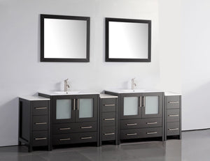 "Vanity Art 96"" Double Sink Vanity Cabinet with Ceramic Sink & Mirror - Espresso, VA3030-96E test"