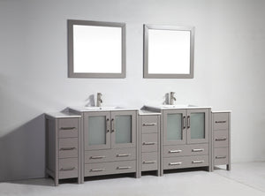 "Vanity Art 96"" Double Sink Vanity Cabinet with Ceramic Sink & Mirror - Grey, VA3030-96G test"