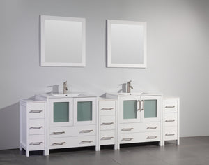 "Vanity Art 96"" Double Sink Vanity Cabinet with Ceramic Sink & Mirror - White, VA3030-96W"