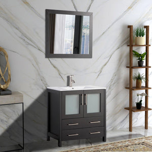 "Vanity Art 30"" Single Sink Vanity Cabinet with Ceramic Sink & Mirror - Espresso, VA3030E test"