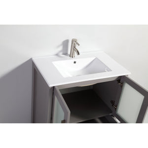 "Vanity Art 30"" Single Sink Vanity Cabinet with Ceramic Sink & Mirror - Grey, VA3030G test"