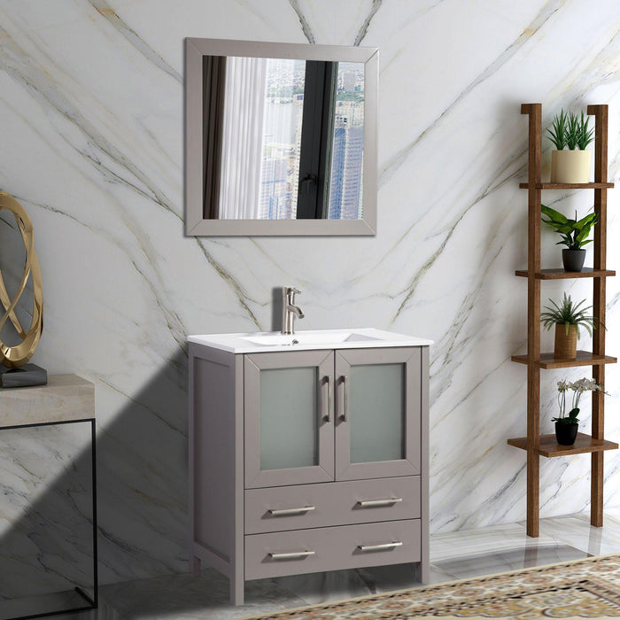 "Vanity Art 30"" Single Sink Vanity Cabinet with Ceramic Sink & Mirror - White, VA3030W"